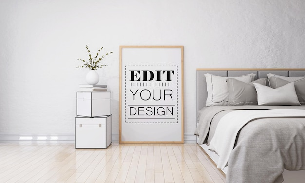 Wall art or picture frame in bedroom mockup