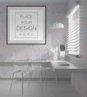 Wall art or picture frame in kitchen mockup