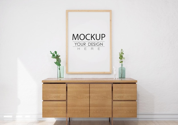 Wall art or picture frame in living room mockup