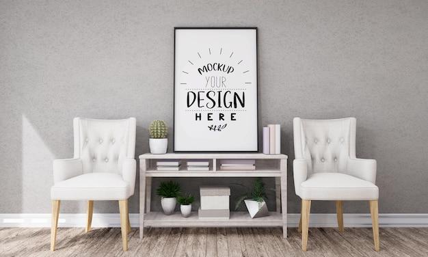 Arte della parete o cornice nel mockup del soggiorno