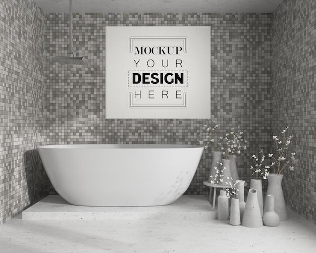 Arte della parete o cornice mockup sull'interno del bagno