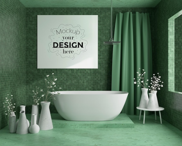 Wall art or picture frame mockup on bathroom interior
