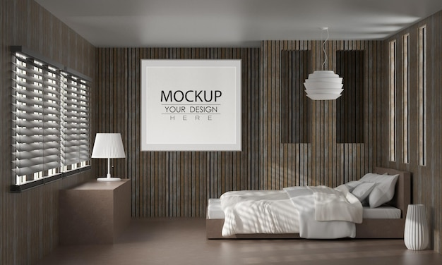 Wall art or picture frame mockup interior in a bedroom