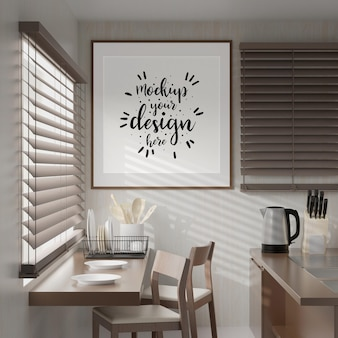 Wall art or picture frame mockup on kitchen room interior