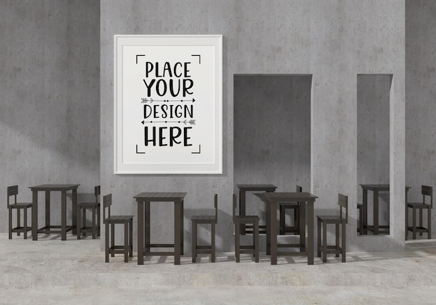 Wall art or picture frame in modern restaurant mockup