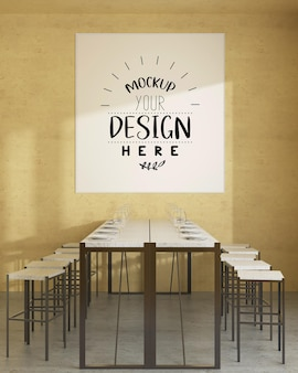 Wall art or picture frame in restaurant or dining room mockup