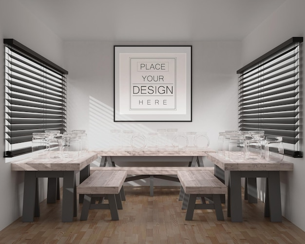 Wall art or picture frame in restaurant mockup