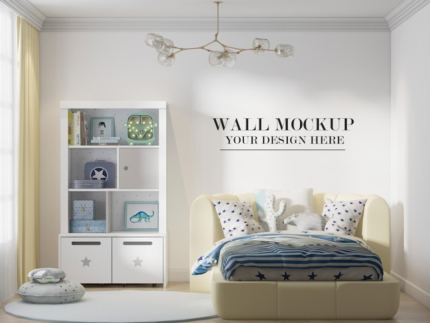 Wall background in 3d scene behind comfortable yellow bed