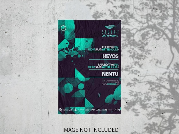 Wall background flyer mockup on wall
