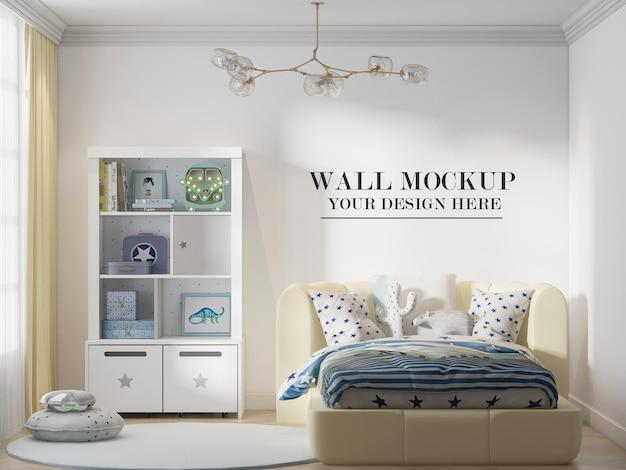 편안한 노란색 침대 뒤에 3d 장면의 벽 배경