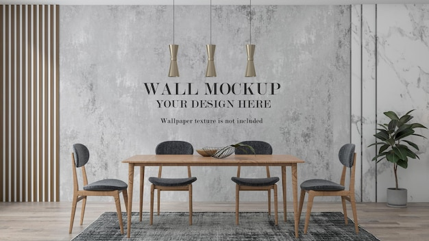 Wall background in interior scene with wooden furniture