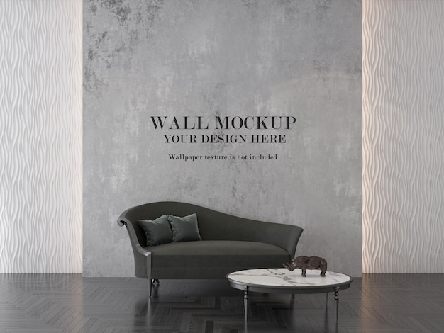 Wall background in interior with chaise longue sofa