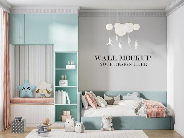 Wall background kids room in 3d rendering