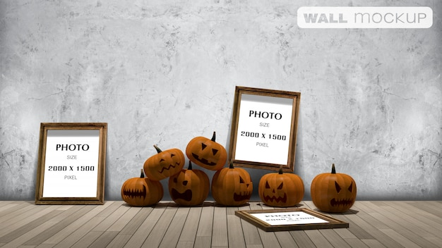 Wall background mockup, 3d rendering image of pumpkin head onthe froor and photo frame on the wall,