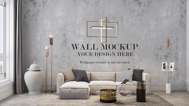 Wall background mockup in living room