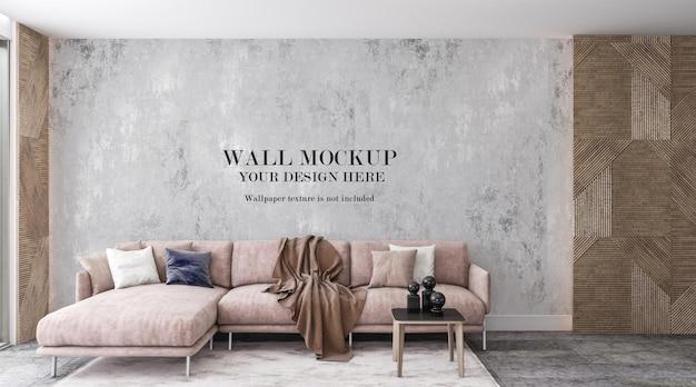 Wall background mockup behind pink sofa