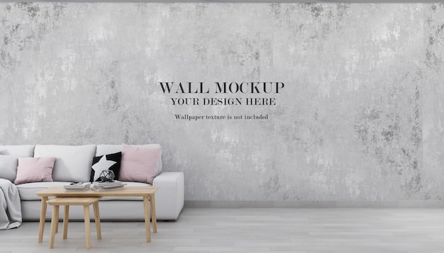 Wall background mockup behind white sofa