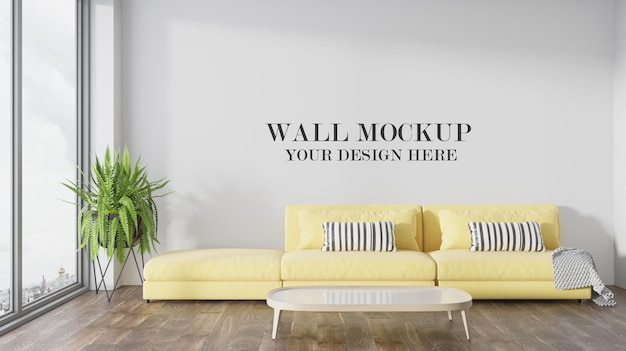 Wall background behind modern yellow sofa