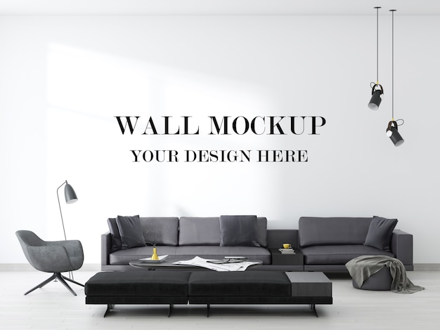 Wall background of a stunning contemporary living room in 3d rendering