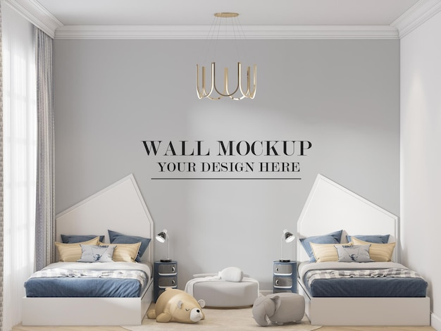 Wall background behind twin bed in 3d rendering