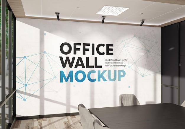 Wall in bright modern office interior mockup