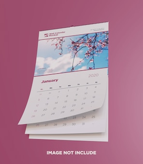Wall calendar mockup bottom view