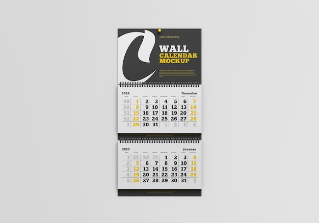 Wall calendar mockup isolated