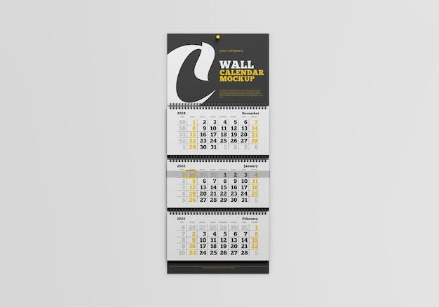 分離された壁掛けカレンダーのモックアップ
