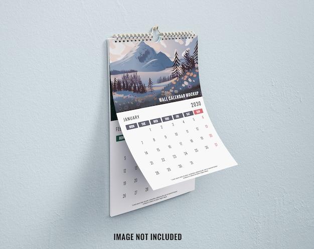 Макет настенного календаря lerft view mockup