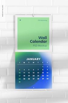 Calendario da parete mockup, prospettiva