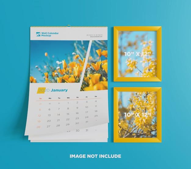 Wall calendar mockup with photo frame