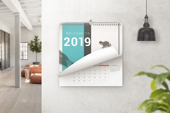 Wall calendar turning page mockup