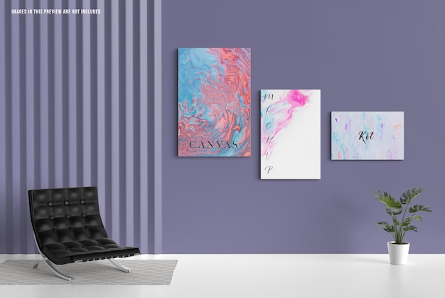 Wall canvas mockup, different sizes