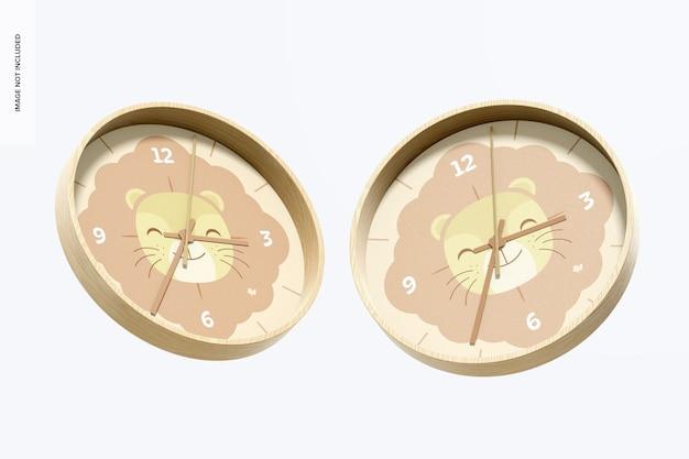 壁掛け時計のモックアップ、フローティング