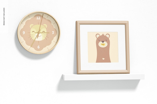 壁掛け時計のモックアップ、ぶら下がっている 無料 Psd