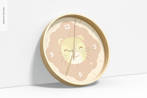 壁掛け時計のモックアップ、傾いた