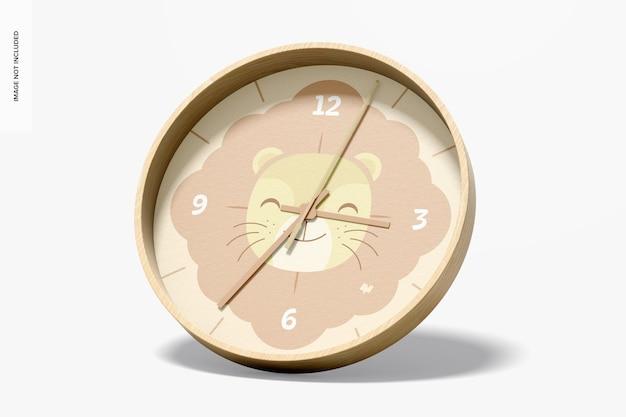 壁掛け時計のモックアップ、右側面図