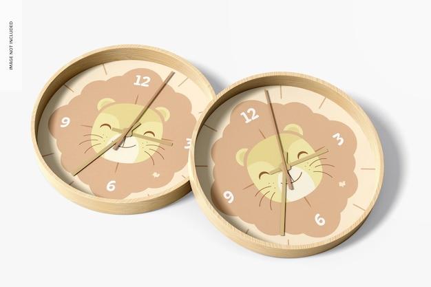 壁掛け時計のモックアップ、上面図