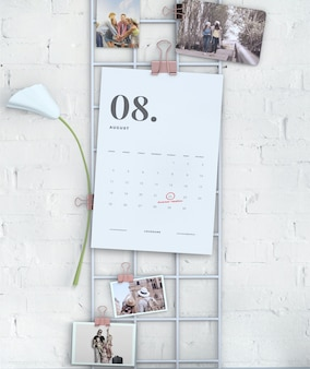 Wall display hanging calendar mock-up