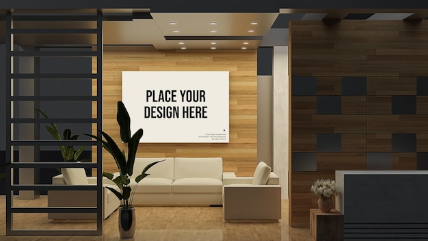 Wall and frame display mockup with furniture