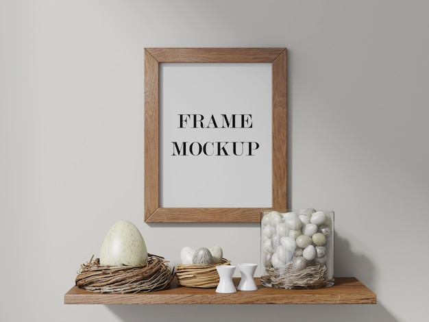 Wall frame above easter eggs 3d rendering mockup
