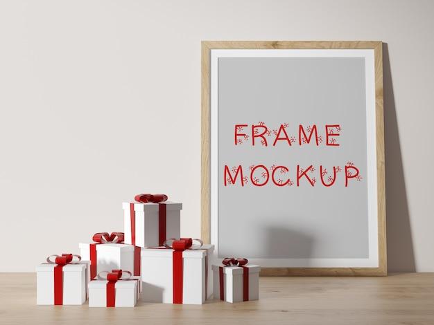 선물 상자 옆에 벽에 기대어 벽 프레임 3d 렌더링 모형