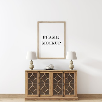 빈티지 스타일 콘솔 테이블 위의 벽 프레임 모형 프리미엄 PSD 파일