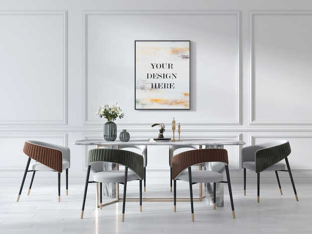 Wall frame mockup in art deco style living room with luxury marble table and suede chairs