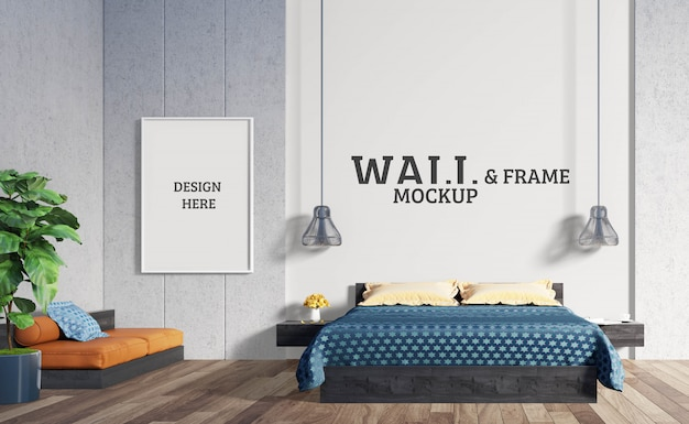 Wall and frame mockup - the bedroom has a bed and a sofa with impressive colors