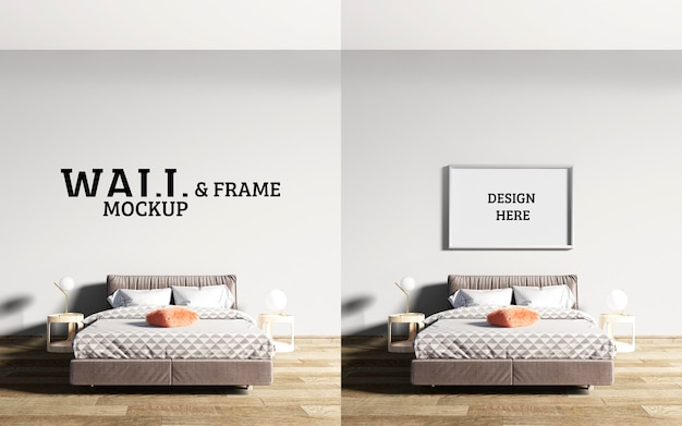 Wall and frame mockup bedroom has a bed with brown as the mainstream