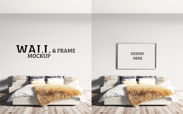 Wall and frame mockup bedroom has a large bed