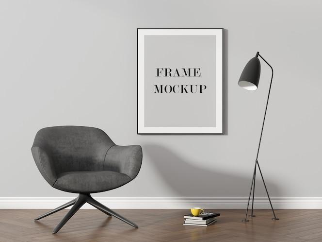 Wall frame mockup beside modern black lamp