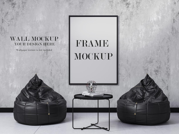 Wall and frame mockup in black and white interior