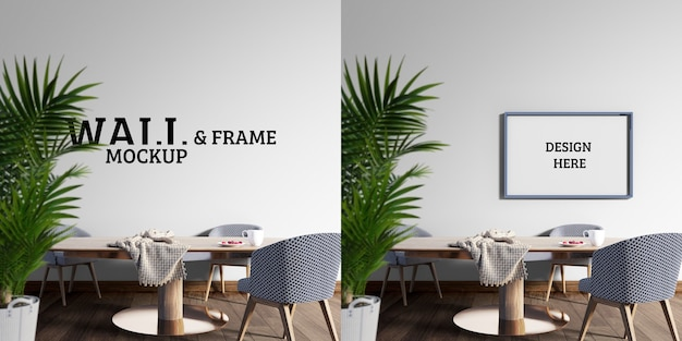 Wall and frame mockup - the dining room has a large wooden table